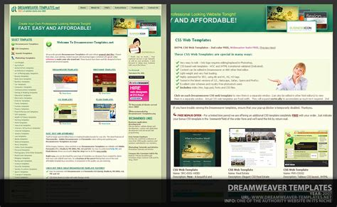 free dreamweaver templates view size