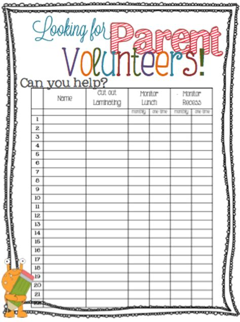 back to school sign in sheet template parent volunteer sign up sheet more free printables