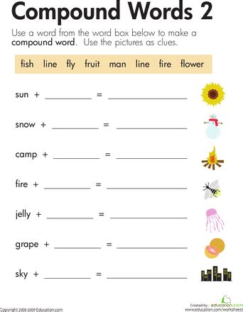compound words worksheets year 2 word addition compound words 2 teaching ideas
