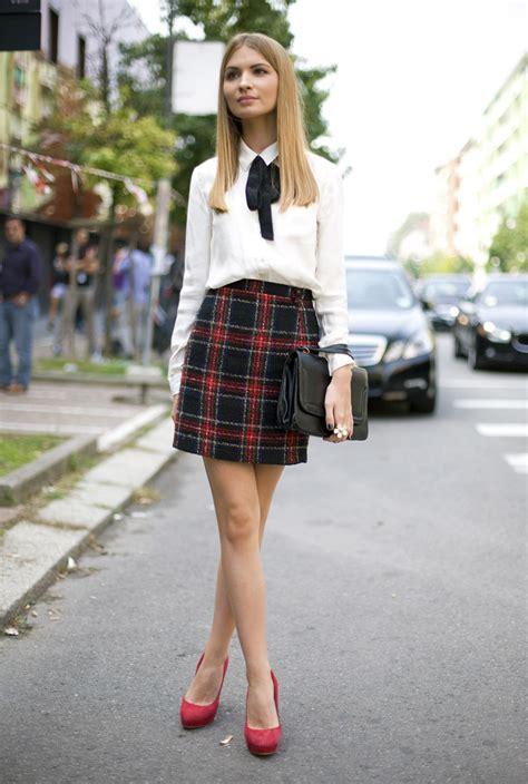 how to style tartan skirts wardrobelooks