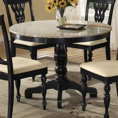 dining table with granite top hillsdale embassy round pedestal table with granite top hd
