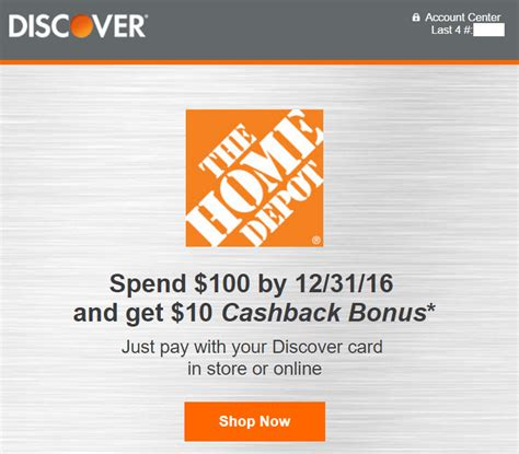 Home Depot Buy Gift Card With Store Credit - discover spend 100 get 10 at home depot targeted doctor of credit