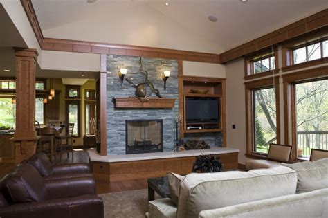 Exterior Home Remodel Before And After - frank lloyd wright inspired home traditional living room other metro by shane d inman