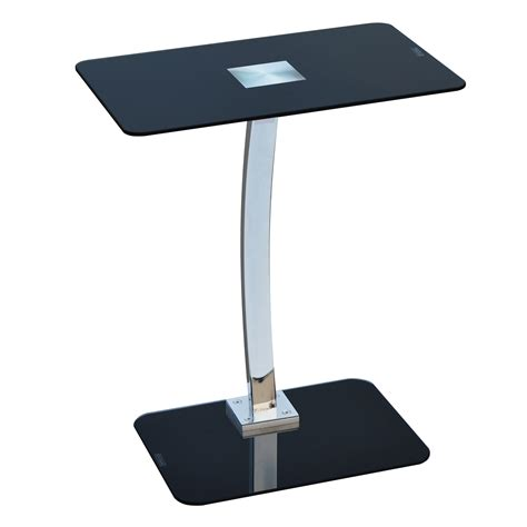 Laptop Side Table Gorgeous Black Glass And Chrome Laptop Table Stand Designer Tv Side Table Ebay