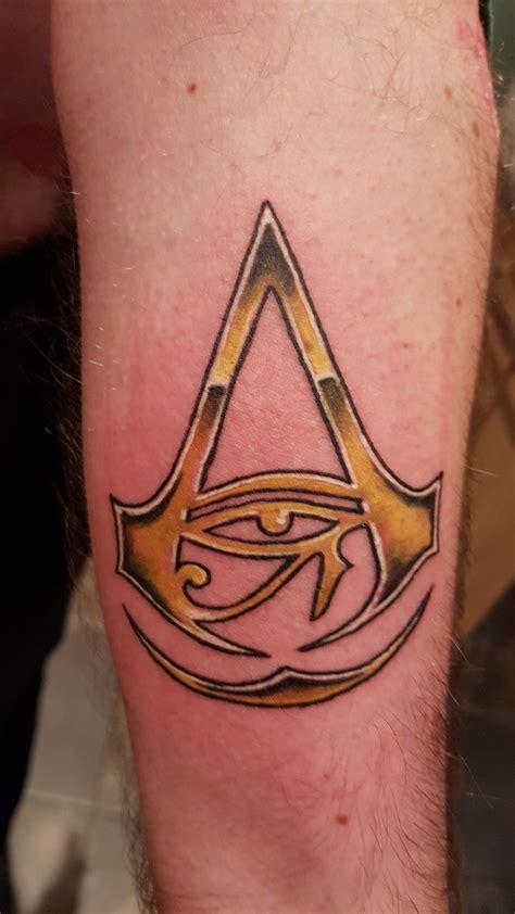 assassin tattoo assassins creed origins on hubbies forearm