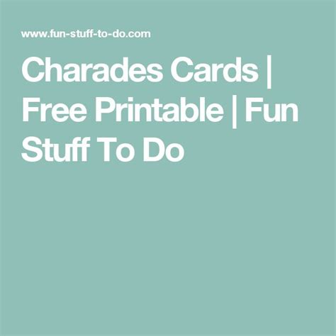 Printable Charades Cards For