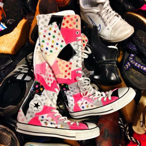 Patchwork Converse - knee high patchwork converse all sneakers oh the