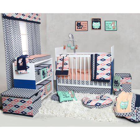 nursery in a bag crib bedding set bacati aztec coral mint navy 10 nursery in a bag crib bedding set 100 cotton