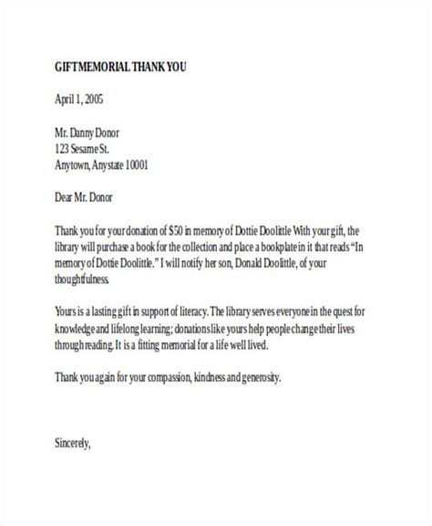 Thank You Letter For Gift Donation In Memory Donation Acknowledgement Letter Docoments Ojazlink