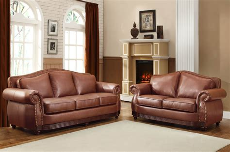 Brown Leather Living Room Sets Homelegance Midwood 2 Living Room Set In Brown Leather Beyond Stores