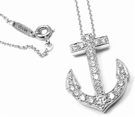 and co platinum anchor pendant necklace