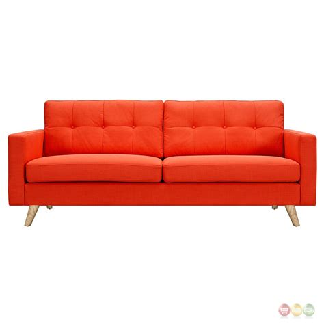 Orange Modern Sofa Uma Mid Century Modern Orange Fabric Button Tufted Sofa W Finish
