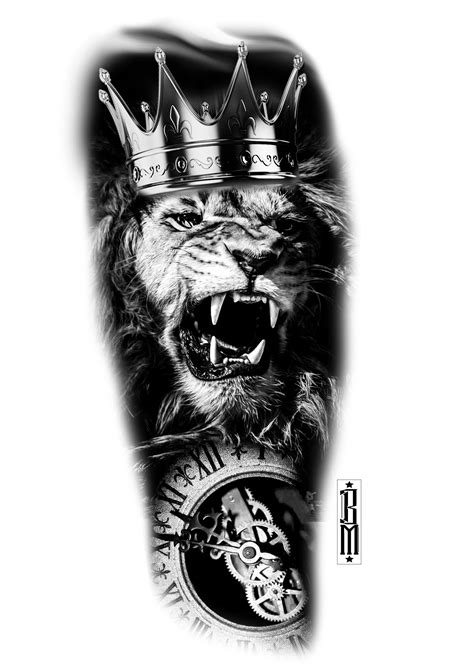 lion with crown tattoo design crown clock design pocekt clockface black and
