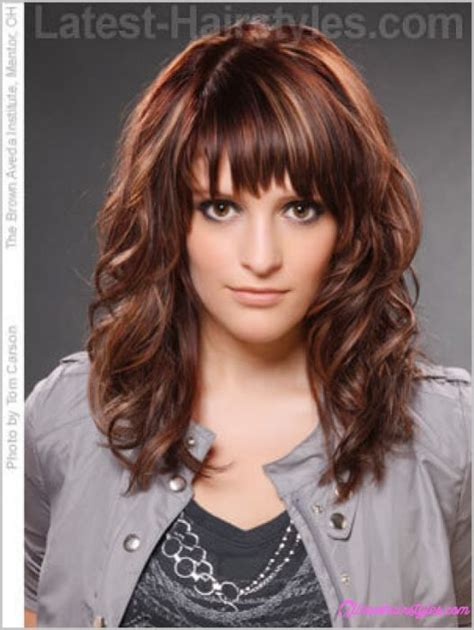 medium hairstyles curly hair with bangs curly layered haircuts with bangs allnewhairstyles com