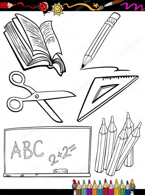 imagenes de objetos a blanco y negro escuela de dibujos animados objetos p 225 gina para colorear