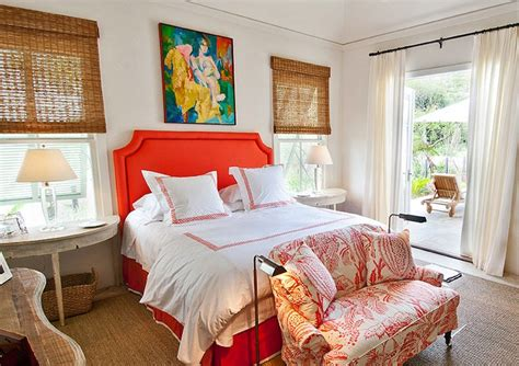 coral color bedroom orange headboard cottage bedroom elizabeth newman