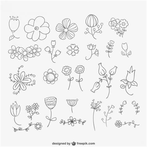 how to draw doodle flowers gezeichnete blumen pack der kostenlosen vektor