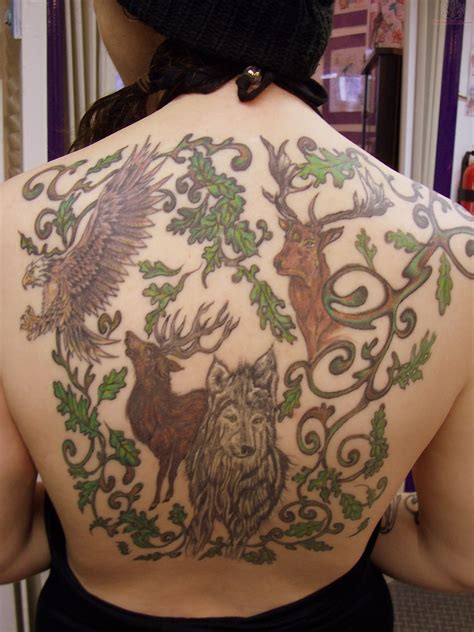 wildlife tattoos wildlife on back