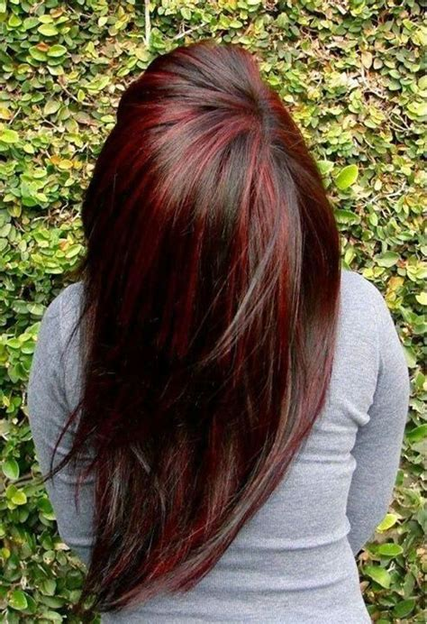 pictures of sapphire black hair with red highlights dark hair red highlights hair and nails pinterest