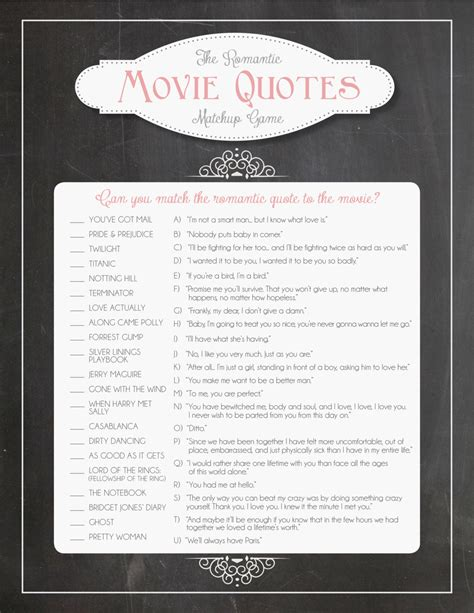 printable bridal shower quotes bridal shower game romantic movie quotes matchup instant