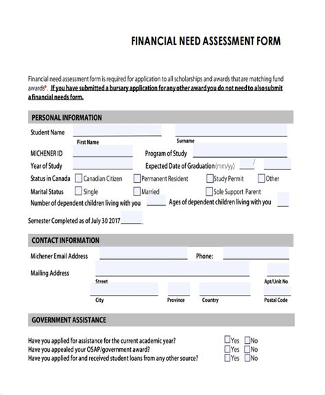 financial assessment template 47 assessment form exles free premium templates