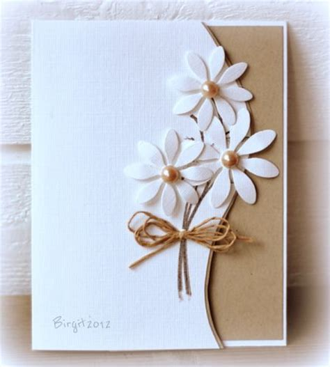 Simple Handmade Cards - handmade card clean and simple die cut daisies go