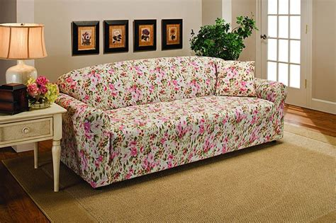 floral couch covers pink floral flower jersey sofa stretch slipcover couch