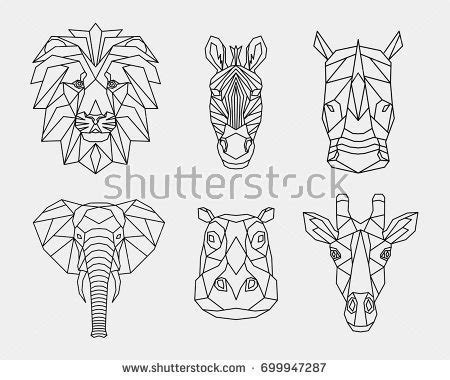 geometric zebra tattoo set polygon animals africa geometric heads stock vector