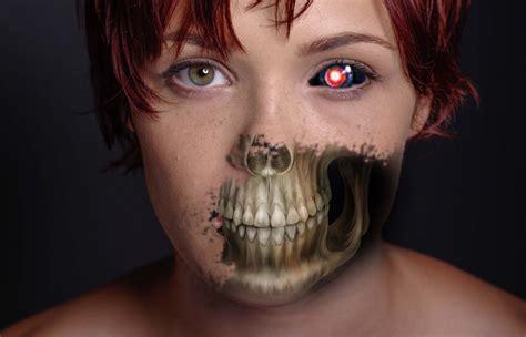 tutorial photoshop skull face horror half skull face artwork in photoshop