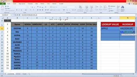 excel tutorial in hindi youtube how to use hlookup formula in excel by saurabh kumar