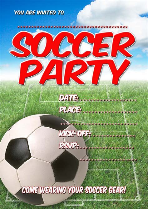 Soccer Invitation Template by Free Invitations Soccer Invitation