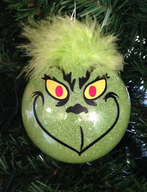 grinch christmas glitter ornament 3 25 glass ball by makeitamy