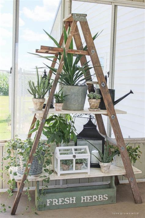 Wooden Ladder Garden Decor 1000 Ideas About Ladder Decor On Pinterest