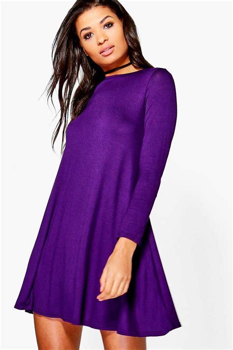 long swing dresses boohoo womens april scoop neck long sleeve swing dress ebay
