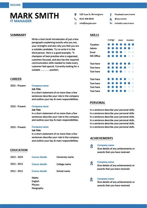 it manager cv template it manager resume template