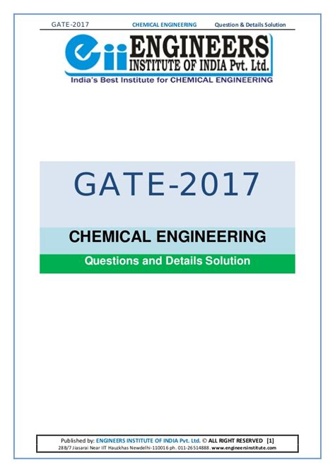 Chemical Engineering Mba Questions by Gate 2017 Detailed Solution Chemical Engineering Ch