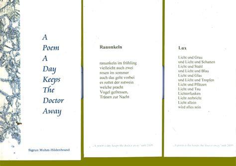 a poem a day keeps the doctor away netskater net