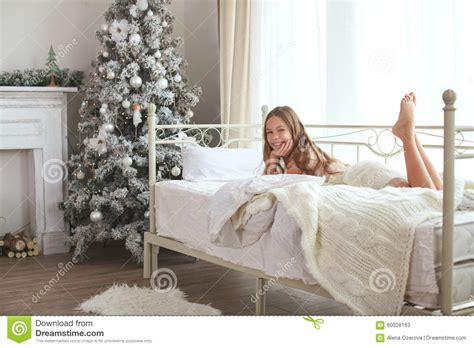 Traditional White Bedroom Furniture - christmas morning stock photo image 60028163