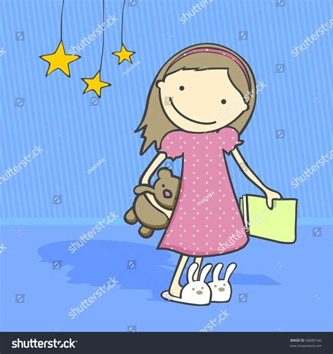 how to get ready for bed daily activities series girl getting ready stock vector