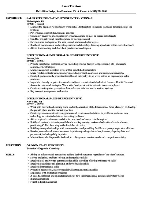 international sales international sales representative resume sles velvet