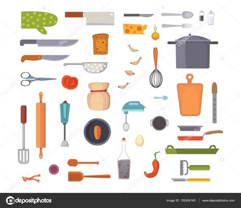 cooking tools mail vector set kitchen utensils cooking tools flat style cook equipment isolated objects stock