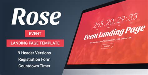 Rose Event Landing Page Template By Inovatikthemes Themeforest Event Landing Page Template Free
