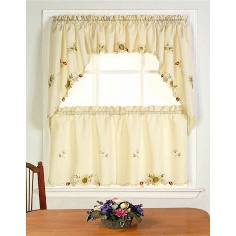 sunflower kitchen curtain sunflower valance curtains sunflower embroidered tier