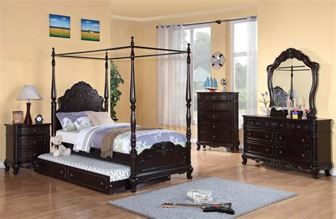 homelegance cinderella poster bedroom set cherry b1386tppnc bed set