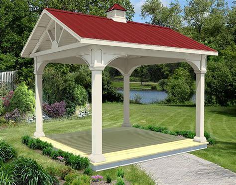 vinyl gable roof open rectangle gazebos gazebos by