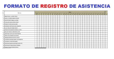 lista de asistencia formato en blanco formato de registro de asistencia para estudiantes