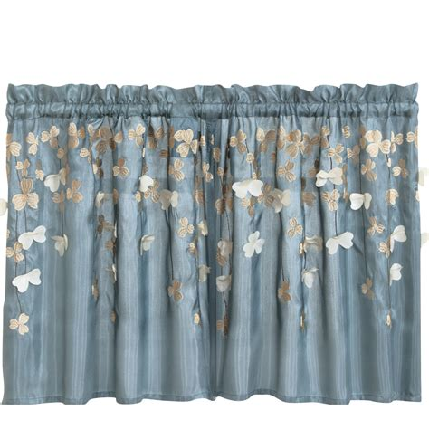 curtain tiers lush decor flower kitchen light filtering tier curtain