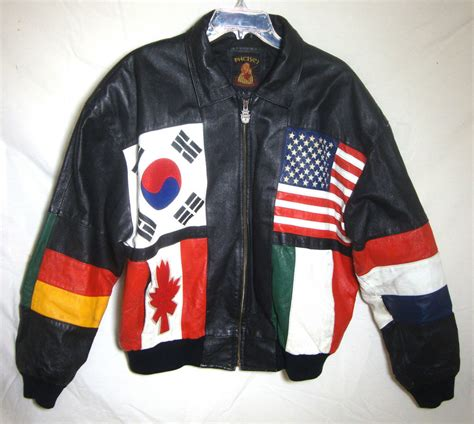 flags of the world zip vintage phase 3 world flags leather jacket biker