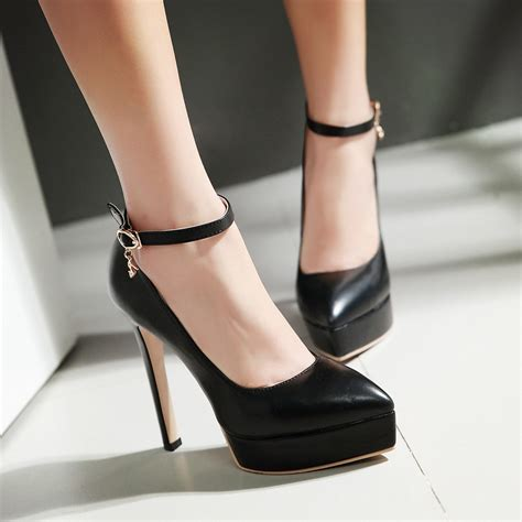work high heels new 2017 s high heels platform pointed toe ankle