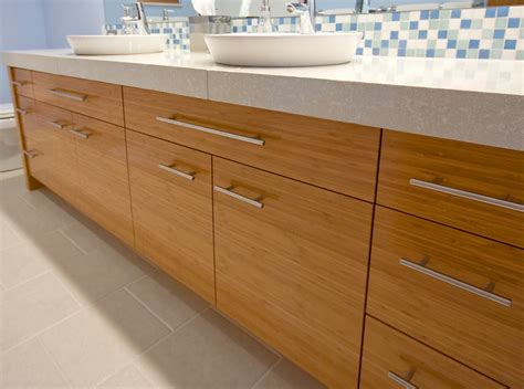 bamboo vanity bathroom modern bathroom vanity done with bamboo and top mount sinks www